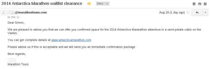 2014 Antarctica Marathon waitlist clearance
