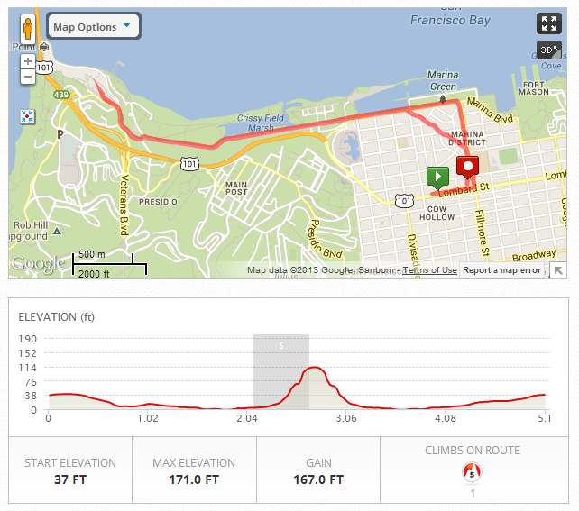 Route from file  2013 09 22 04 10 23 00 00  in San Francisco  CA   MapMyRun